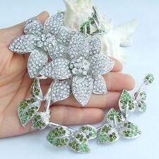 """Clear Rhinestone Crystal Pendant 02957C1 Elegant 8.86"""" Wedding Flower Brooch Pin"""