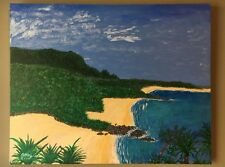 Gorgeous Tropical Island Original 16 x 20 Acrylic Painting Art