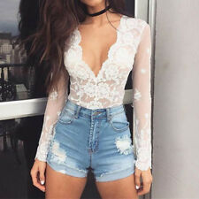 2017 Womens Lace Tops Long Sleeve Floral Shirt Casual Blouse Loose T-shirt Tops