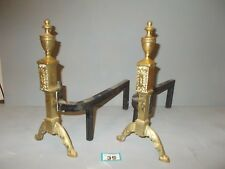 Antique Brass And Wrought Iron Andirons Dogs Fire Basket / Log Inglenook 39