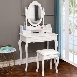 Ktaxon Elegance White Dressing Table Vanity Table and Stool Set Wood Makeup Desk