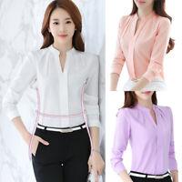 Women's Chiffon Tops Ladies Work Formal Shirt Office Uniform Business Blouse