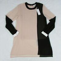 Calvin Klein Women's Colorblock Tunic Blouse Blush & Black Extra Small $89.50
