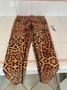 teeki tights gold cheetah leopard hot pant photography legging size S NEW