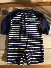 BOYS LONG SLEEVE SWIMSUIT 6 - 12 MONTHS - UPF 50 + blue stripe