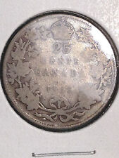 1915 CANADA 25 CENTS QUARTER SILVER KEY DATE!