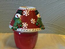 Candle-Lite Candle Jar with Ceramic Shade with Snowman Design