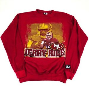 San Fransisco 49ers 90s Starter JERRY RICE Graphic Crew Neck Sweater YOUTH LARGE