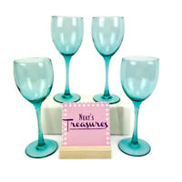 LUMINARC FRANCE Stem Solid Jade Green Tint Glass 8oz  Wine Glasses Set of 4