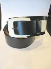 Ladies WORTH Black Leather Tapered Wide Belt Ivory Accents SZ Medium M/L