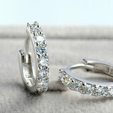 Fashion 925 Sterling Silver Plated  Single Row Studs Earring Hoop Huggie