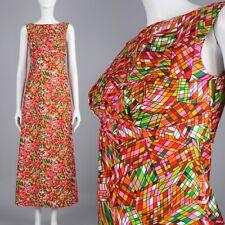 XS Vintage 1960s Psychedelic Neon Op Art Maxi Dress Sleeveless Hostess 60s