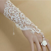 New Lace Pearls Wedding Gloves Wrist Fingerless Bridal Gloves Prom Party Gloves
