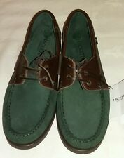 Hackett London bi couleur daim/cuir Dockside Bottines Vert Taille UK 10 EU 44