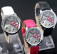 Fashion Cute Girl Boys Kids Faux Leather Cartoon Face Analog Quartz Wrist Watch
