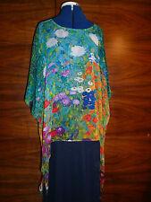 100% silk georgette floaty kaftan/tunic  Klimt's garden of flowers L/XL  NEW