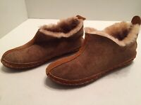 LL Bean Women's Brown Suede Sherpa Lined Slipper Moccasins Size 7
