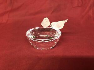 Swarovski Crystal Birds on a Bird Bath Cut Clear Polished Glass