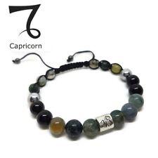 Zodiac Sign CAPRICORN Birthstone Moss & Black Onyx Agate Unisex Bracelet