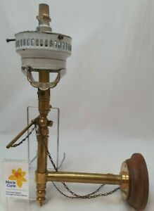 (NUN) Victorian Brass Gas Wall Light Sconce Lamp Antique Vintage Wooden Plaque