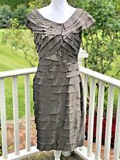 London Times Dress Eyelash Ruffle 14 Sheath Taupe Iridescent Formal Party Satin