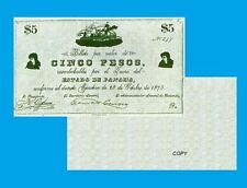 PANAMA 5 PESOS 1875. UNC - Reproduction