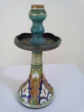 More details for large gouda pottery candlestick 31 cm high approximately signed see pictures