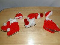 Vintage Handmade Knitted Skates and Cap Holiday Christmas Ornaments Lot of 3