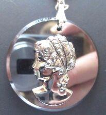 Top Bijou chaîne collier pendentif camée en verre fumé buste de femme XVIII 3295