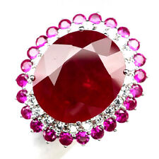 RUBY PIGEON BLOOD RED OVAL 31.2CT.SAPPHIRE 925 STERLING SILVER RING SZ 7 JEWELRY