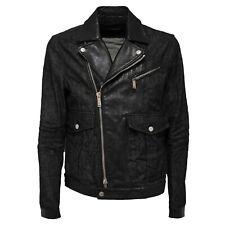 9831Q giubbotto uomo DSQUARED2 D2 chiodo jeans pelle jacket men