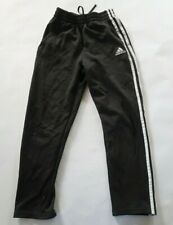 Adidas Boys Polyester Gray White Striped Activewear Track Pants Pockets Youth M