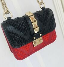 Authentic Valentino Glam Lock Red Black Leather Beaded Crossbody Shoulder Bag