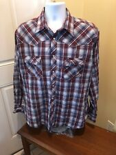 Wrancher by Wrangler Mens Western Shirt Plaid Pearl Snaps XL Cowboy