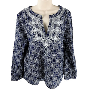 J Crew Size Medium Embroidered Cotton Tunic Top Blouse V-Neck Blue Casual C2581
