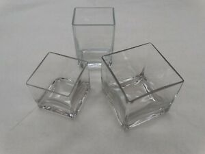 3 Used Clear Glass Votive Square Art Vase Candy Bowl Decoration Planter