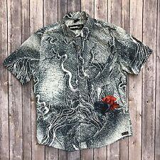 DESIGUAL MEN snakeskin rose Print Button up SS Embroidered Shirt Sz L blue camp