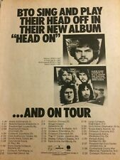 Bachman Turner Overdrive, BTO, Head On, Tour, Full Page Vintage Promotional Ad