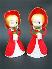 Mid Century Vintage Pair of Felt Christmas Decoration Carolers Rene D. Lyon