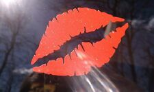 Kissing Lips Red Metallic sparkle sticker decal