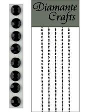 300 x 1mm NERO E DIAMANTE Self Adesivo Strisce Righe con Strass CORPO NAIL Vajazzle