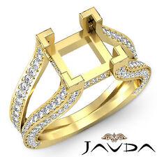 Diamond Engagement Ring 14k Yellow Gold Princess Semi Mount Pave Setting 1.4Ct