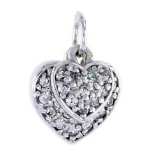 Sterling Silver Jeweled 2 Pieces Heart Pendant w/ CZ Stones