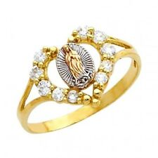 """14K Solid Gold Fancy Virgen de Guadalupe """"Lady of Guadeloupe"""" CZ Heart Ring"""