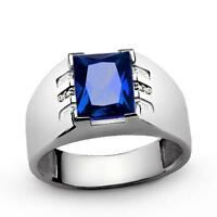 Men Blue SAPPHIRE Ring with DIAMOND Accents in Solid 925 Sterling Silver all sz