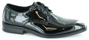La Milano Men's Tuxedo wedding dress shoes, Oxford plain toe lace up,  black EEE