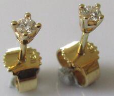 Segunda mano 18ct Oro Amarillo Brillante Redondo Diamante Aretes (0.05ctx2)