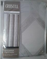 CROSCILL Gwynn Silver 100% Polyester Fabric Shower Curtain