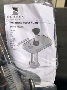 New Server FP-V Stainless Steel Vertical Fountain Syrup Jar Pump Topping + Extra