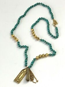 SILPADA KR Collection Dominica Details Beads Necklace Turquoise Brass Tassel $99